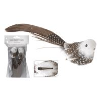 Ptáček na klipu - hnědý 16 cm, set 2ks