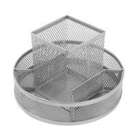 Drátěný stojan otočný 7-dílný, stříbrný