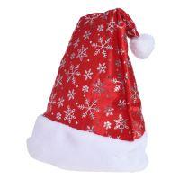 Čepice - Santa Claus se sněhovými vločkami 45 cm, 1ks