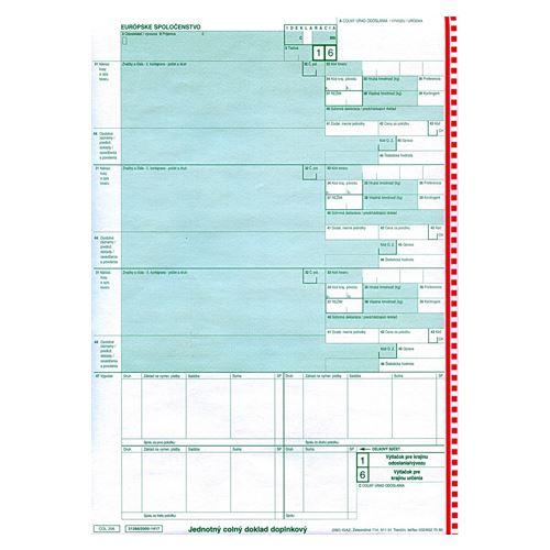 Doplňky. jednotný celní dokladech. COL 206 A4 - samopr. (92)