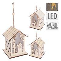 Domeček - svítící LED - teplá bílá 13x10x10 cm, mix / 1ks