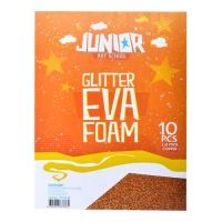 Dekorační pěna A4 EVA oranžová tloušťka 2,0 mm glitter, sada 10 ks