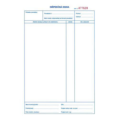 Inspekční kniha A4, 50 x 3 listy (22)
