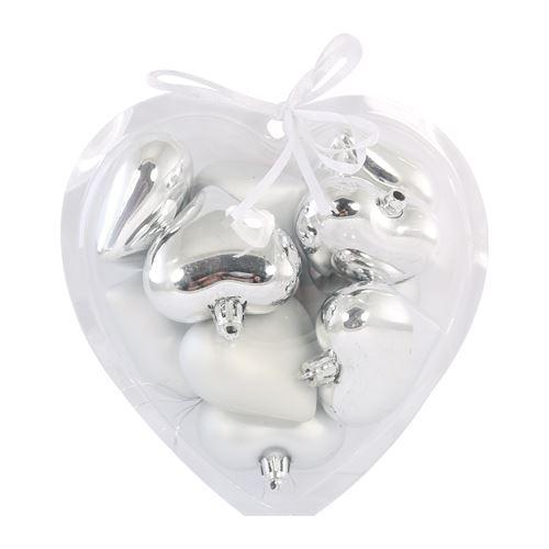Vánoční ozdoby - PP stříbrné - srdce 6 cm, sada 10ks