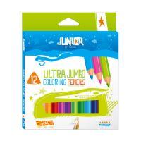 Pastelky Jumbo 12 barevné Junior 10 + zlatá a stříbrná