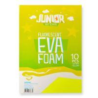 Dekorační pěna A4 EVA Fluo žlutá 2,0 mm, sada 10 ks