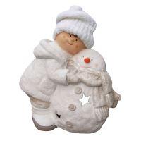 Figurka - Chlapec se sněhulákem 41 cm, 1ks