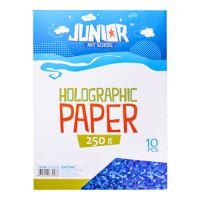 Dekorační papír A4 modrý holografický 250 g, sada 10 ks