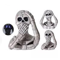 Dekorace Halloween 39 cm - Lebka s LED osvětlením a zvukem, mix / 1ks