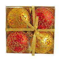 Vánoční koule - PP 100 mm / červeno zlaté - ploché, sada 4ks