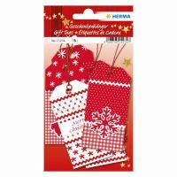 Vánoční visačka na dárky - červeno-bílé