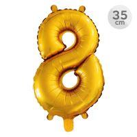 Balón narozeninový 35 cm - číslo 8, zlatý