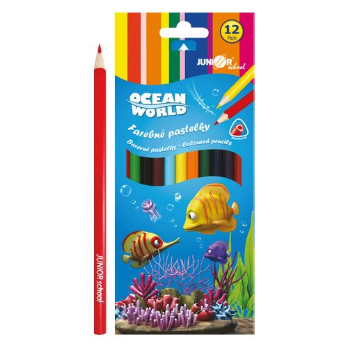 Pastelky Ocean World trojhrané 12 ks