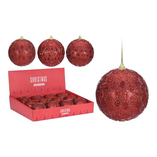 Vánoční koule - PS červená/glitter 80 mm, mix/1ks