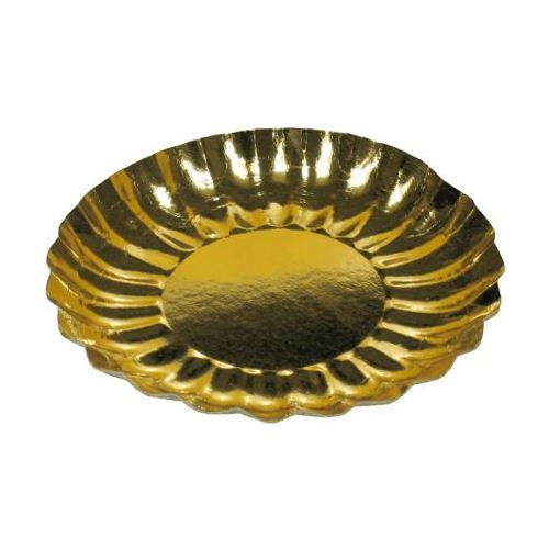 Talíř papírový zlatý 21 cm, 25 ks