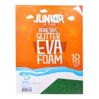 Dekorační pěna A4 EVA zelená samolepící glitter 2,0 mm, sada 10 ks