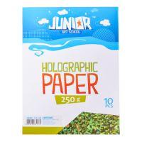 Dekorační papír A4 zelený holografický 250 g, sada 10 ks