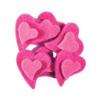 Dekorace srdce plyš růžové 6 ks