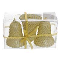 Vánoční ozdoba - Zvonek s korálky zlatý 10x7 cm sada 3 ks