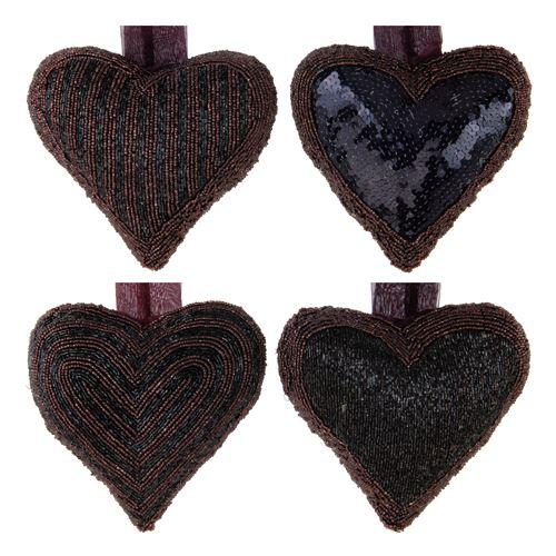 Srdce s korálky 13x13 cm - černo / fialové 1 ks